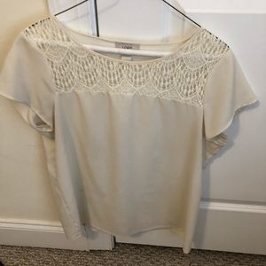 Blouse with lace accent at collar